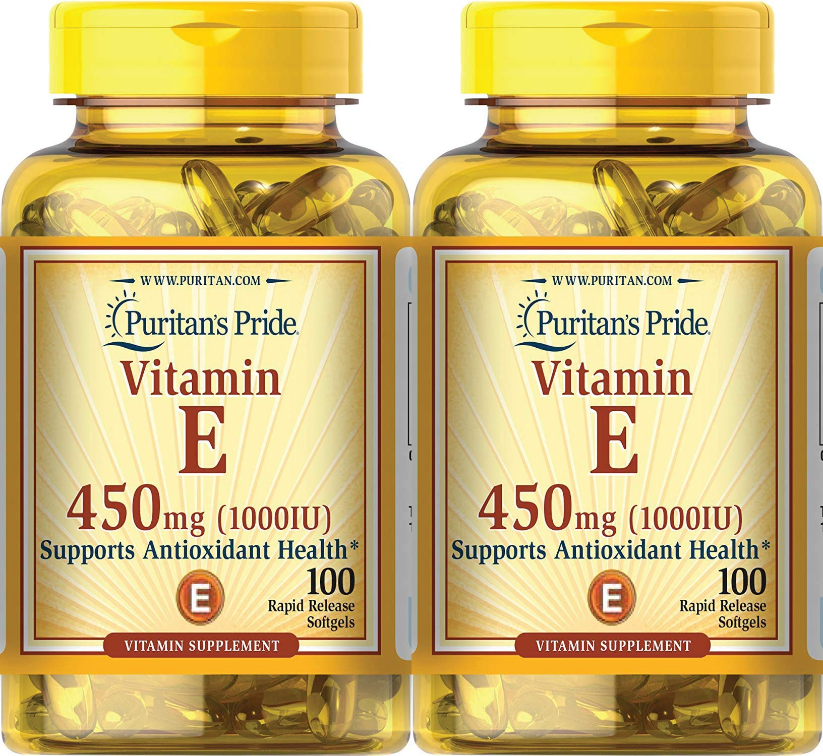 Puritan's Pride Vitamin E 1000 IU Soft Gels,100 Count (2 Pack)