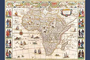 Map Africa with Cities and Tribes 1644 Antique Vintage Style Cool Wall Decor Art Print Poster 24x36