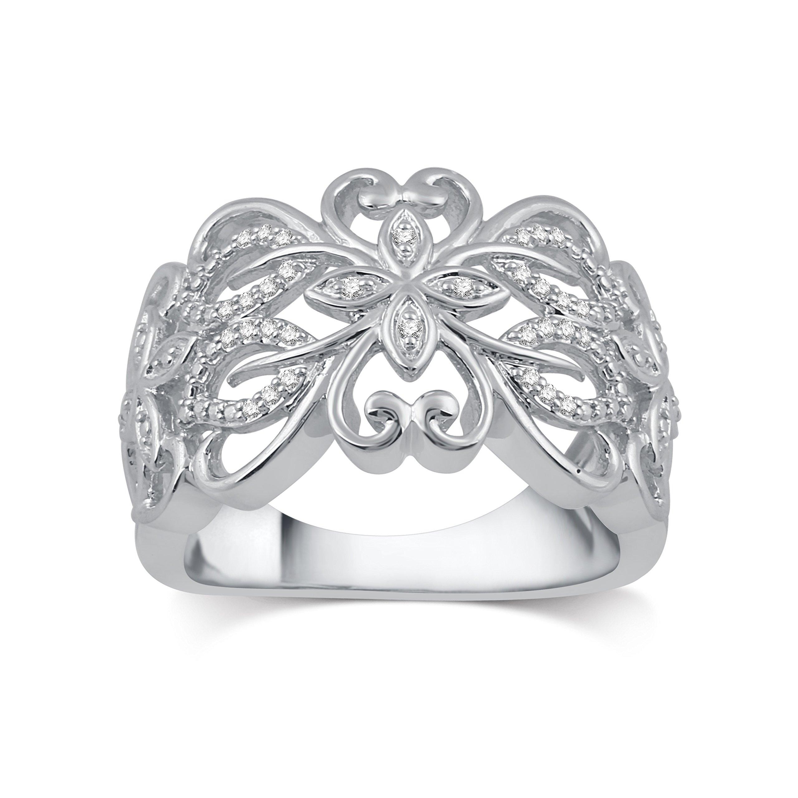 DeCarat 1/10 CT.T.W. Diamond Sterling Silver Fancy Flower Design Anniversary Ring
