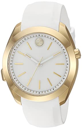 Amazon.com: Movado Womens Stainless Steel Swiss-Quartz Watch with Silicone Strap, White, 20 (Model: 3660006: Movado: Watches