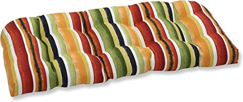 Pillow Perfect Outdoor/Indoor Dina Noir Wicker Loveseat Cushion,Multicolored