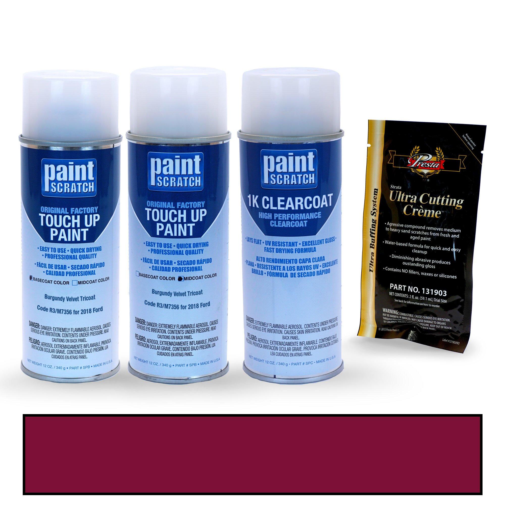 PAINTSCRATCH Burgundy Velvet Tricoat R3/M7356 for 2018 Ford EcoSport - Touch Up Paint Spray Can Kit - Original Factory OEM Automotive Paint - Color Match Guaranteed