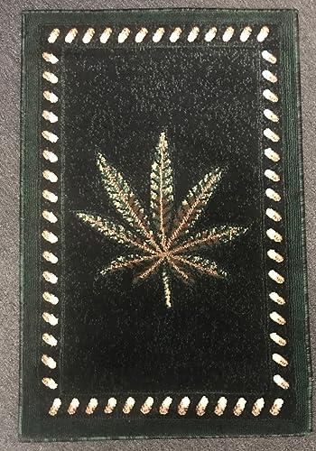 Americana Marijuana Door Mat Rug Black Green Design 139 2ftx3ft