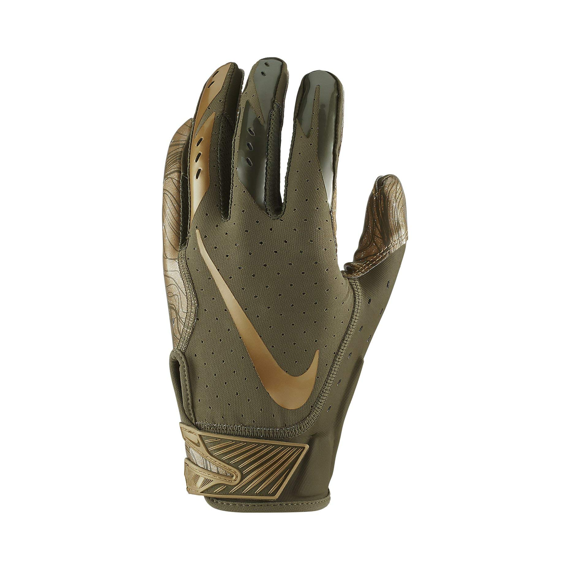 Nike Adult Vapor Jet 5.0 Receiver Gloves 2018 (Olive/Gold, Small)