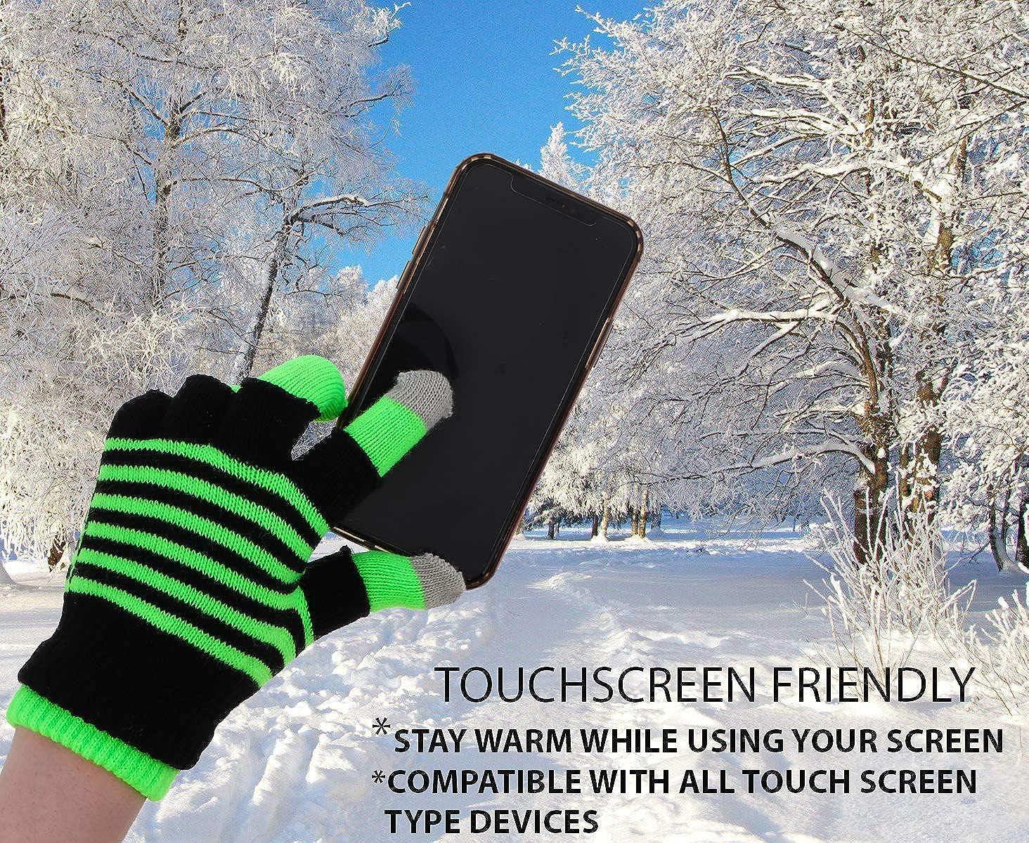 Personalised Fluorescent Super Soft Fine Knit Neon Stripe Winter Gloves