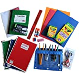 Back to School Supplies Bundle with Pencils, Crayons, Scissors, Pens, Notebooks, Folders, Paper, Gluesticks, Eraser, Sharpeners, Notecards, Zipper Pack, Ruler, and More