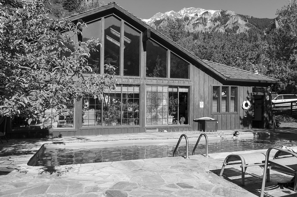 18 x 24 B&W Photo of Pool at the Wiesbaden Hot Springs Hotel, a small spa in Ouray, Colorado, an old mining community high in the San Juan Mountains of southwestern Colorado. A numb 2015 Highsmith 04a