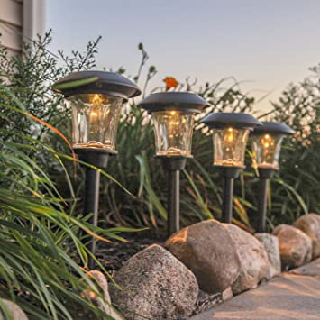 4 Solar Black Path Lights With Warm White LEDs, 14u0026quot;, Waterproof, Heavy