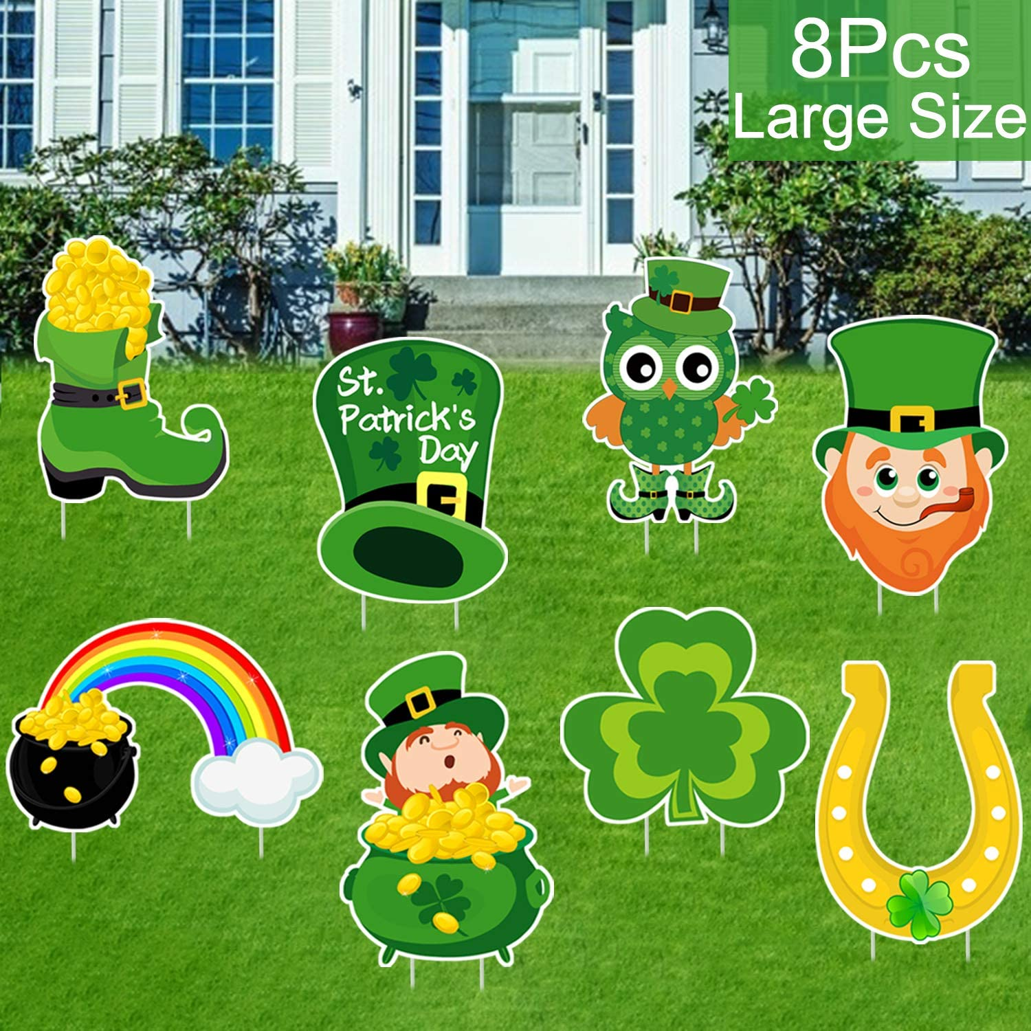 8 PCS St. Patrick's Day Yard Sign Outdoor Lawn Decorations | St. Patrick's Day Decorations Outdoor| Irish Leprechaun Horseshoe Shamrock Yard Sign with Stakes| Saint Patty's Day Outdoor Decorations