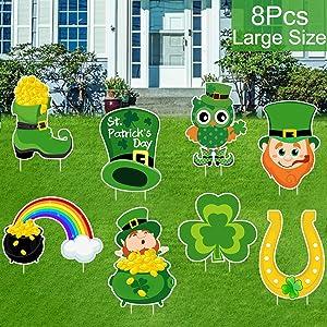 8 PCS St. Patrick's Day Yard Sign Outdoor Lawn Decorations | St. Patrick's Day Decorations Outdoor| Irish Leprechaun Horseshoe Shamrock Yard Sign with Stakes| Saint Patty's Day Outdoor Decorations