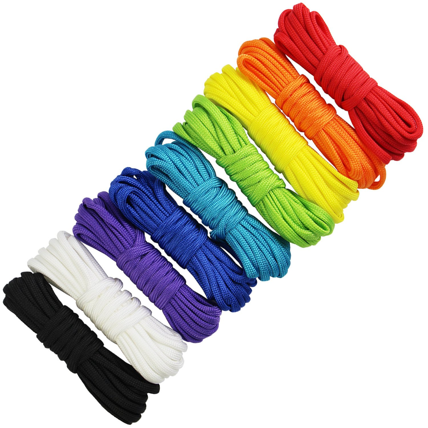 9 Colours x 10 ft Paracord Bracelet Rope Rainbow Color Black and White Parachute 7 Strand Nylon Cord Survival Rope Parachute Cord for Camping Hiking Travelling Outdoor & Home Uses Braided Bracelet Keychain Lanyard QINGKONG