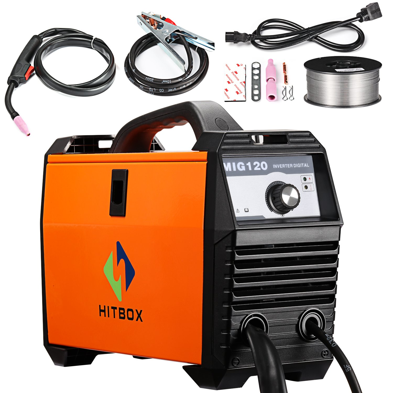 HITBOX MIG Welder 120Amp Gasless Flux Cored 220V DC Mini Portable Inverter Gasless Digital MIG Welding Machine