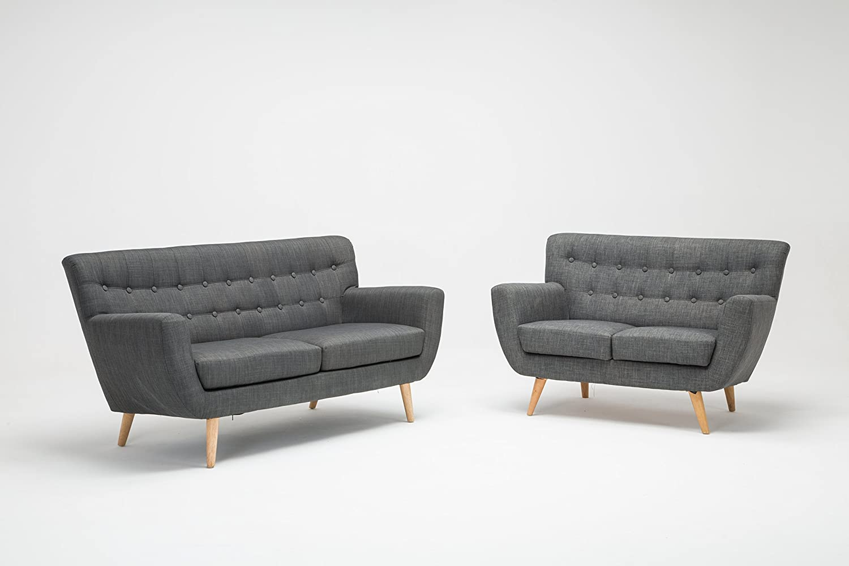Birlea Loft Seater Sofa Fabric Grey Amazoncouk Kitchen Home - Retro style sofa