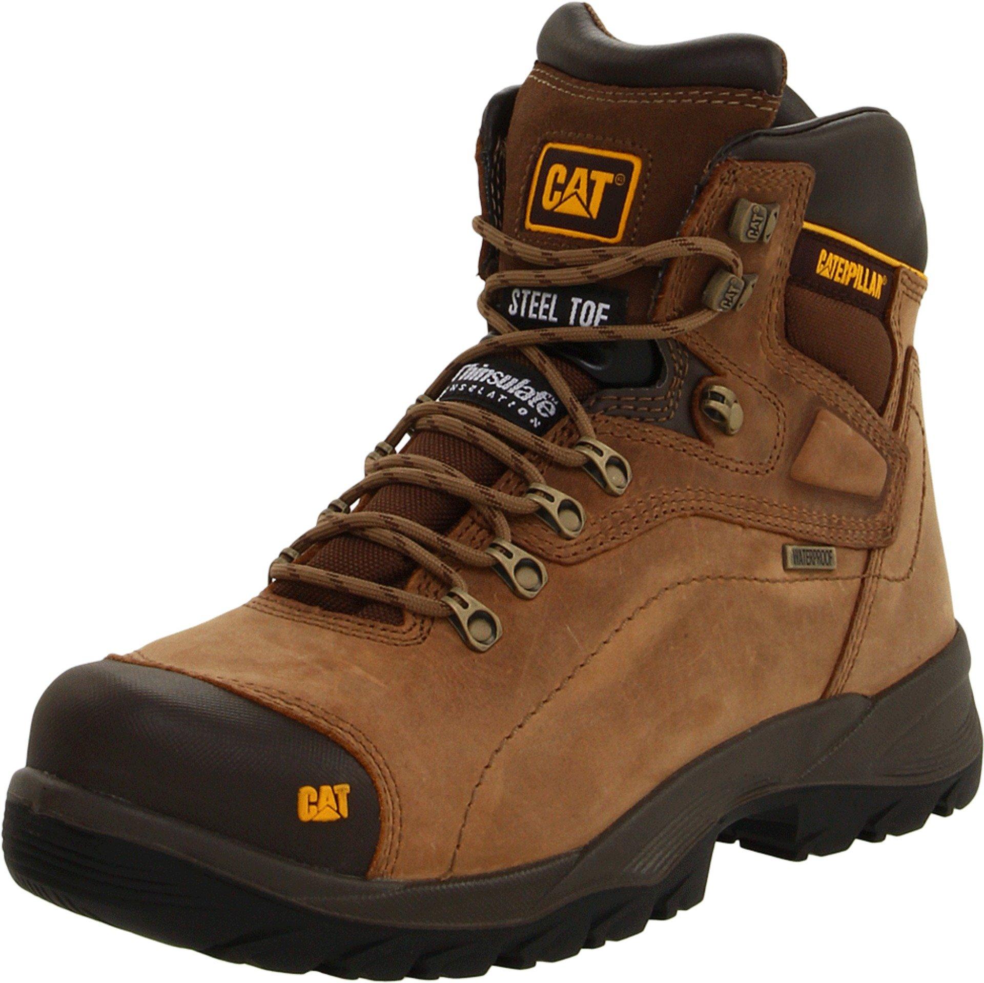 Caterpillar Men's Diagnostic Steel-Toe Waterproof Boot,Dark Beige,7 W US by Caterpillar