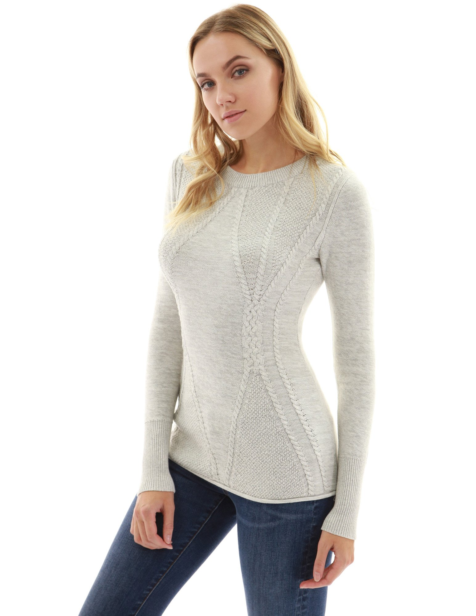 PattyBoutik Women Cotton Blend Crewneck Cable Knit Sweater (Heather Light Gray Small)