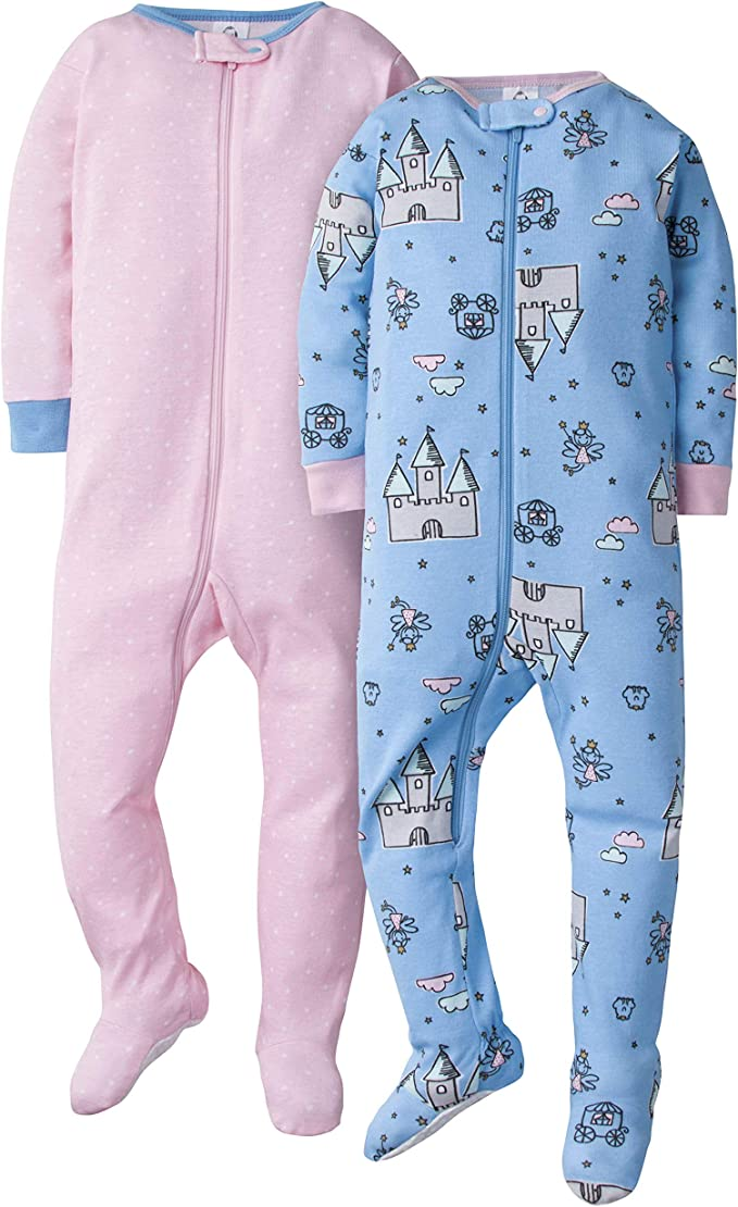 GERBER Baby Girls 2-Pack Footed Unionsuit 12 Months Fairytale