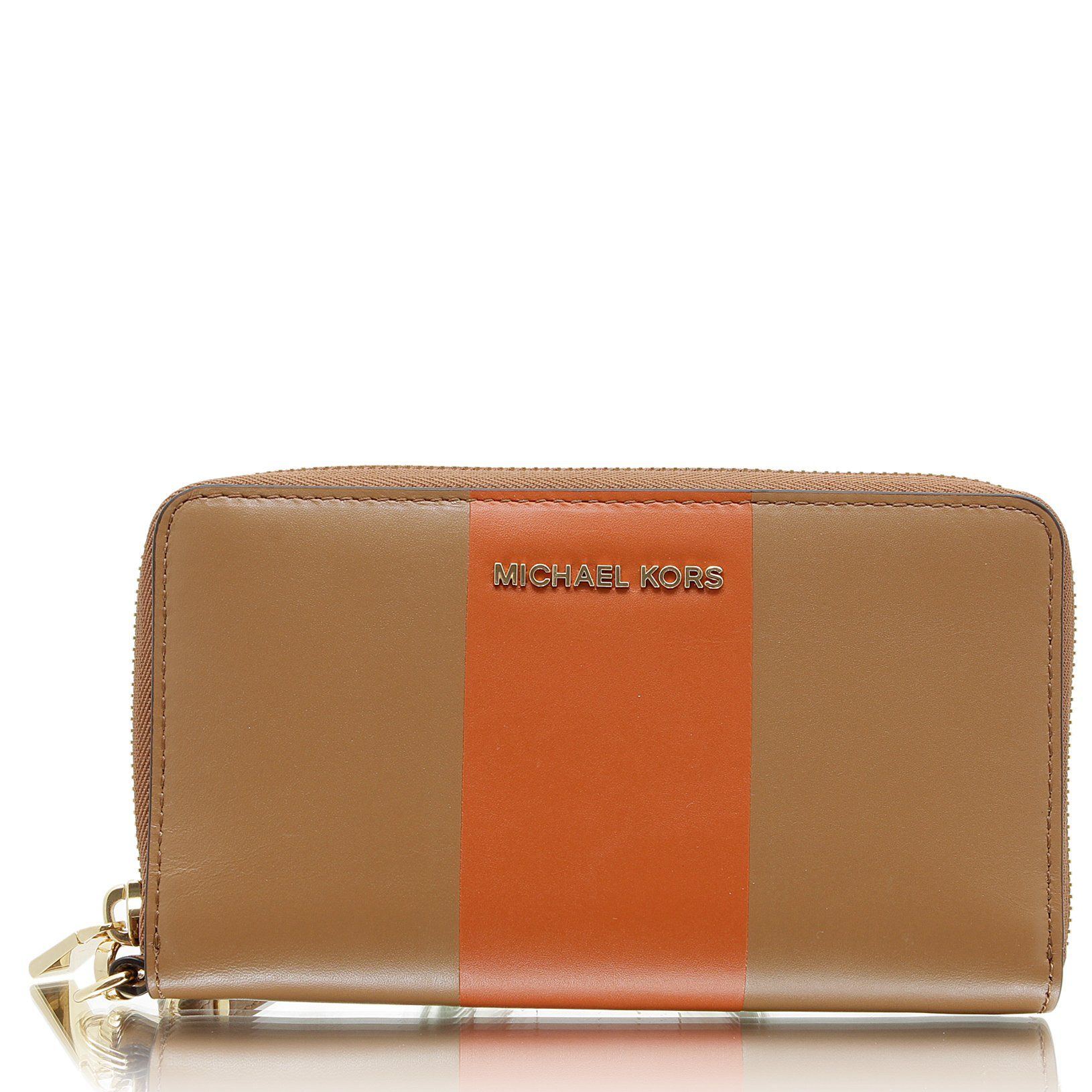 MICHAEL KORS Colorblock Leather Wristlet in Acorn/Orange