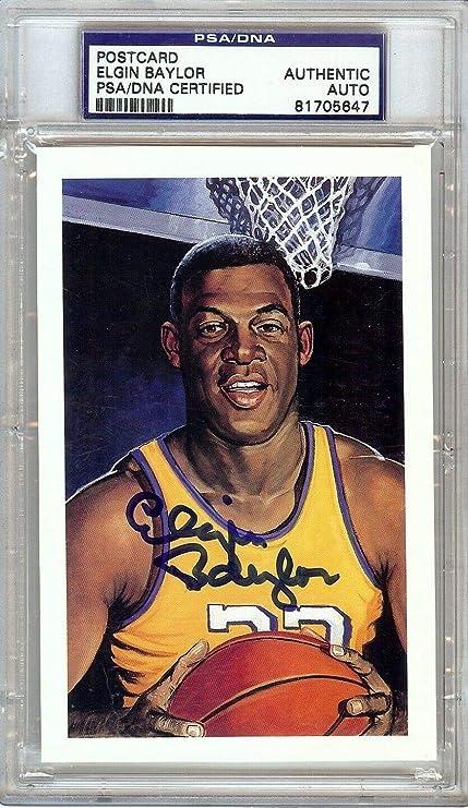 adfc33189c4 Elgin Baylor Autographed Signed Memorabilia Postcard Los Angeles Lakers  PSA/DNA