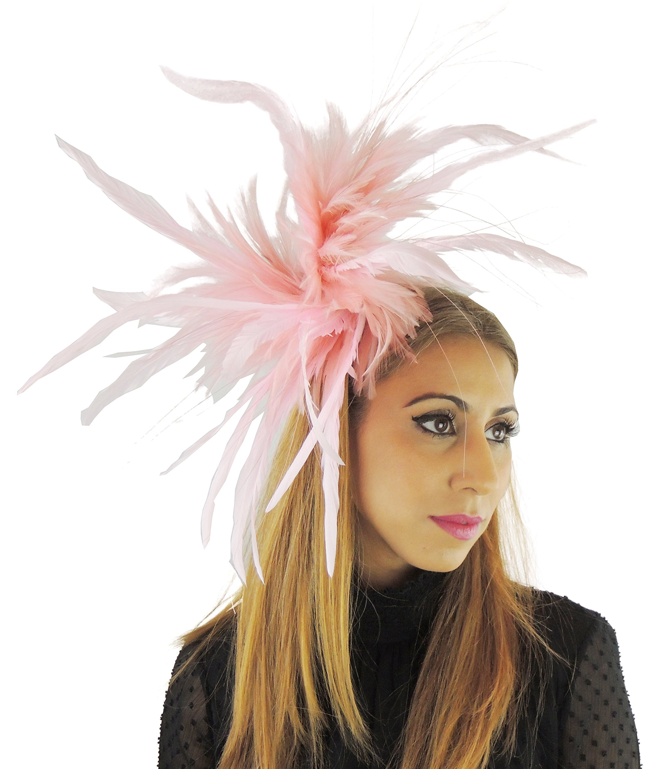 Hats By Cressida Baby Pink Feather Fascinator Hat for Ascot Derby with Headband