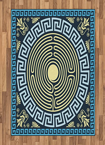 Amazon Ambesonne Greek Key Area Rug Yellow And Blue Labyrinth Beauteous Labyrinth Pattern