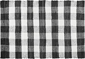 GLAMBURG Cotton Buffalo Check Plaid Rugs Washable, Checkered Rug Welcome Door Mat 22x34 Rug for Kitchen Carpet Bathroom Outdoor Porch Laundry Living Room, Farmhouse Reversible Rag Rug Black White