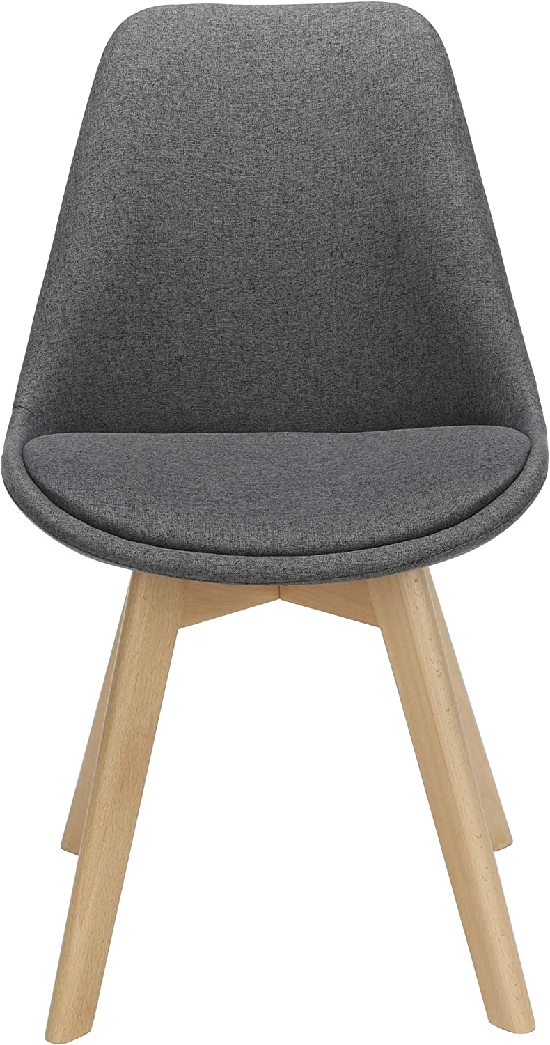OFM 161 Collection Mid Century Modern 2 Pack 18 Fabric Dining Chairs with Fabric Seat Cushion in Dark Gray Beechwood Legs with Wire Accent