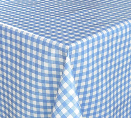Blue Gingham Check Pvc Tablecloth Wipe Clean Oilcloth  140cm Wide Cut To  Order Price Per