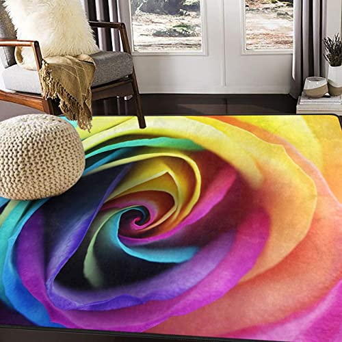 ALAZA Colorful Rainbow Rose Flower Area Rug Rugs for Living Room Bedroom 7 x 5