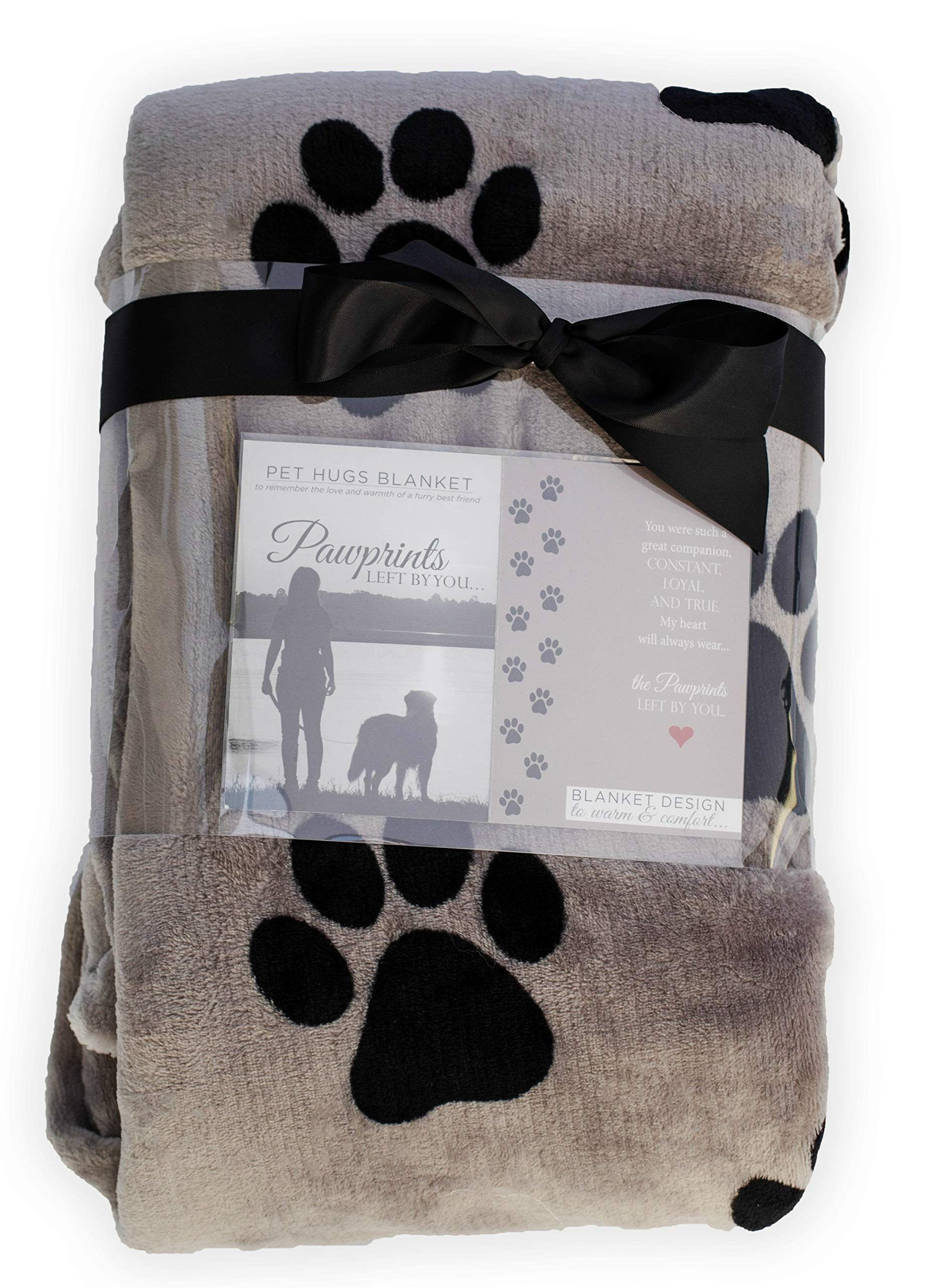 Pawprints Left by You Pet Memorial Blanket with Heartfelt Sentiment - Comforting Pet Loss/Pet Bereavement Gift (Non Personalized) 1