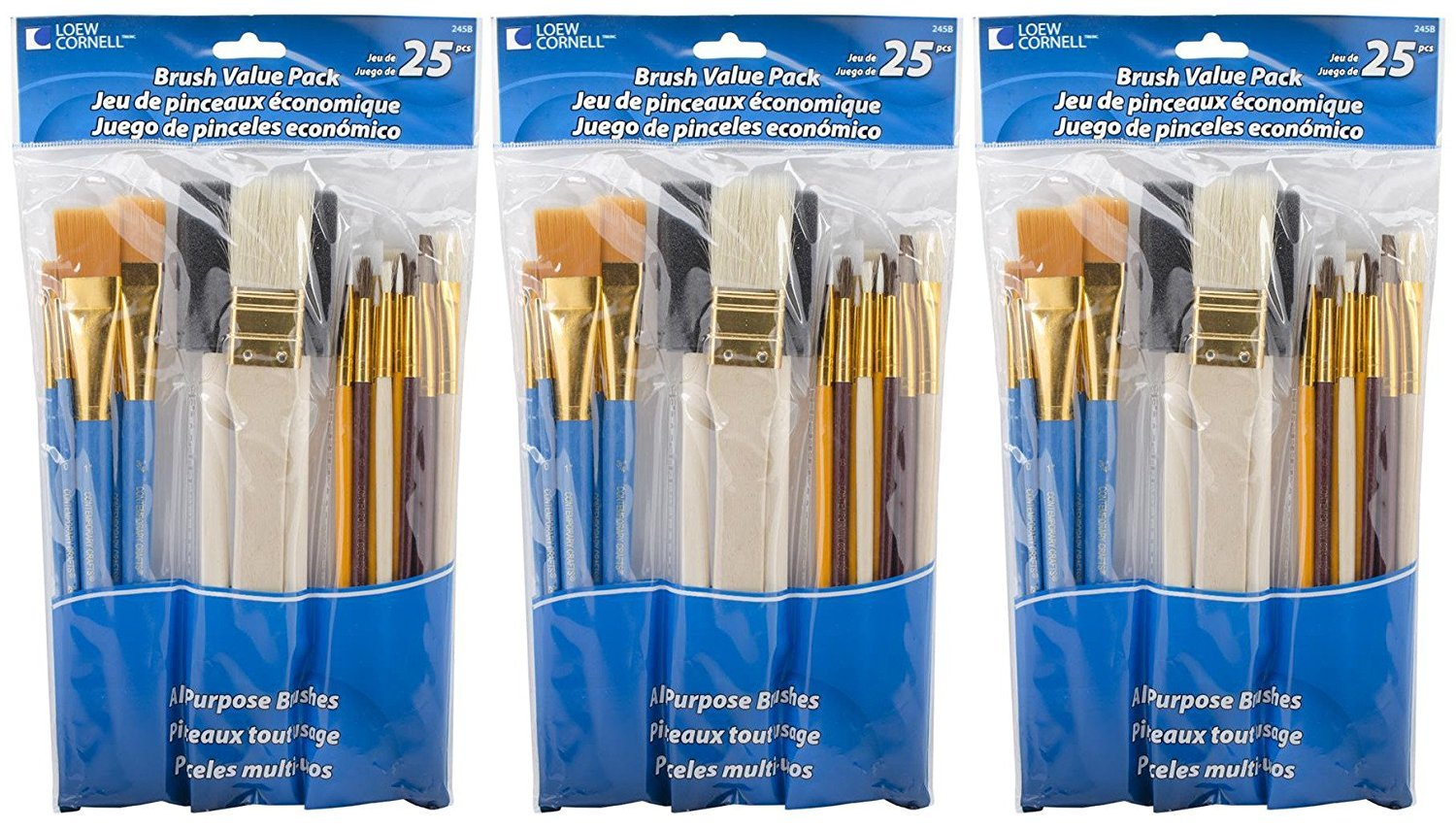 Loew-Cornell 245B Brush Set, Pack of 25, Multi Color Notions - In Network