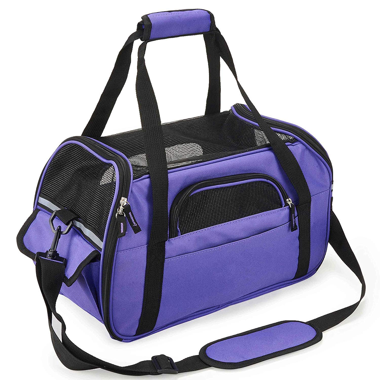 Purple S Purple S Pet Carrier Travel Soft Sided Bags Lightweight Fabric Padded Wide Shoulder Strip Hangbag for Puppy Rabbit Guinea Pig with Mesh Window Soft Cushion