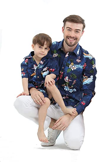 450c48d64 Matching Father Son Hawaiian Luau Outfit Christmas Men Shirt Boy Shirt  Shorts Navy Santa Flamingo 3XL-4: Amazon.co.uk: Clothing