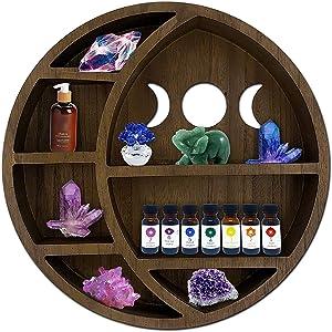 ASUARE Wooden Moon Shelf for Crystals | Floating Moon Shelf | Essential Oil Display | Crystal Display Shelf | Decor for Room, Bathroom, Living Room