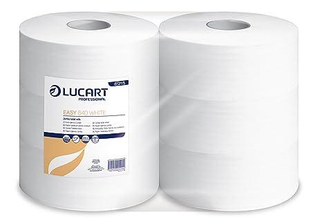 Lucart Professional 812115 rollos de papel higiénico Maxi Jumbo 640 M, blanco (Paquete de