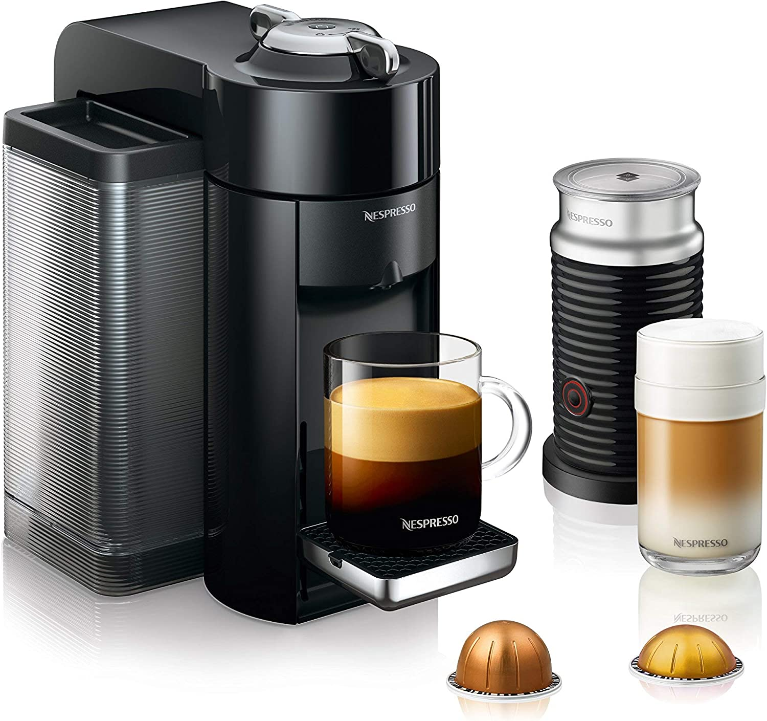 Nespresso Vertuo Evoluo Coffee and Espresso Machine with Aeroccino by DeLonghi, Black Renewed