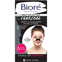 Biore Charcoal, Deep Cleansing Pore Strips for Blackhead Removal on Oily Skin, with Instant Blackhead Removal and Pore…