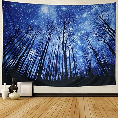 Prabahdak Trees Tapestry Wall Hanging Psychedelic Starry Night Forest Tapestry Fantastic Galaxy Landscape Tapestry Hippie Bohemian Wall Tapestry for Dorm Living Room Bedroom X-Large, 4 Blue Forest
