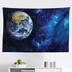"""Lunarable Galaxy Tapestry, Celestial Theme View of The Earth from The Moon with Dark Outer Space and Universe, Fabric Wall Hanging Decor for Bedroom Living Room Dorm, 45"""" X 30"""", Royal Blue"""