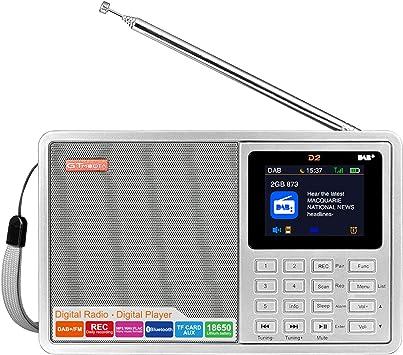 GT MEDIA D2 Dab+ y FM Radio Digital Portátil Radio Recargable (Rec, RDS, Bluetooth, Tarjeta TF, AUX-IN, Batería Recargable 18650, Alarma/Temporizador de Reposo) Pantalla LCD en Color de 2,4 Pulgadas: Amazon.es: Electrónica