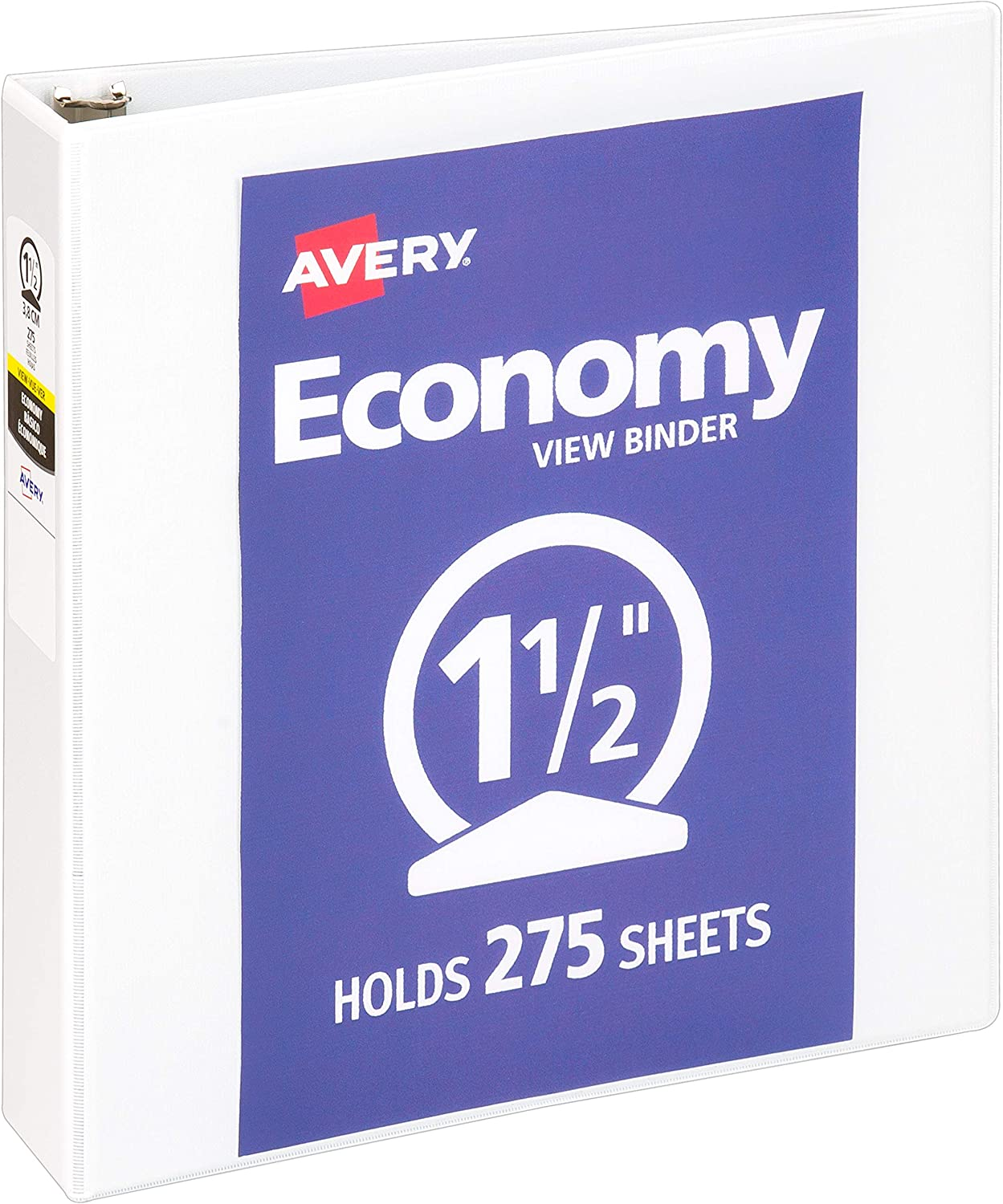 "Avery 1.5"" Economy View 3 Ring Binder, Round Ring, Holds 8.5"" x 11"" Paper, 1 White Binder (5726) : Office Products"