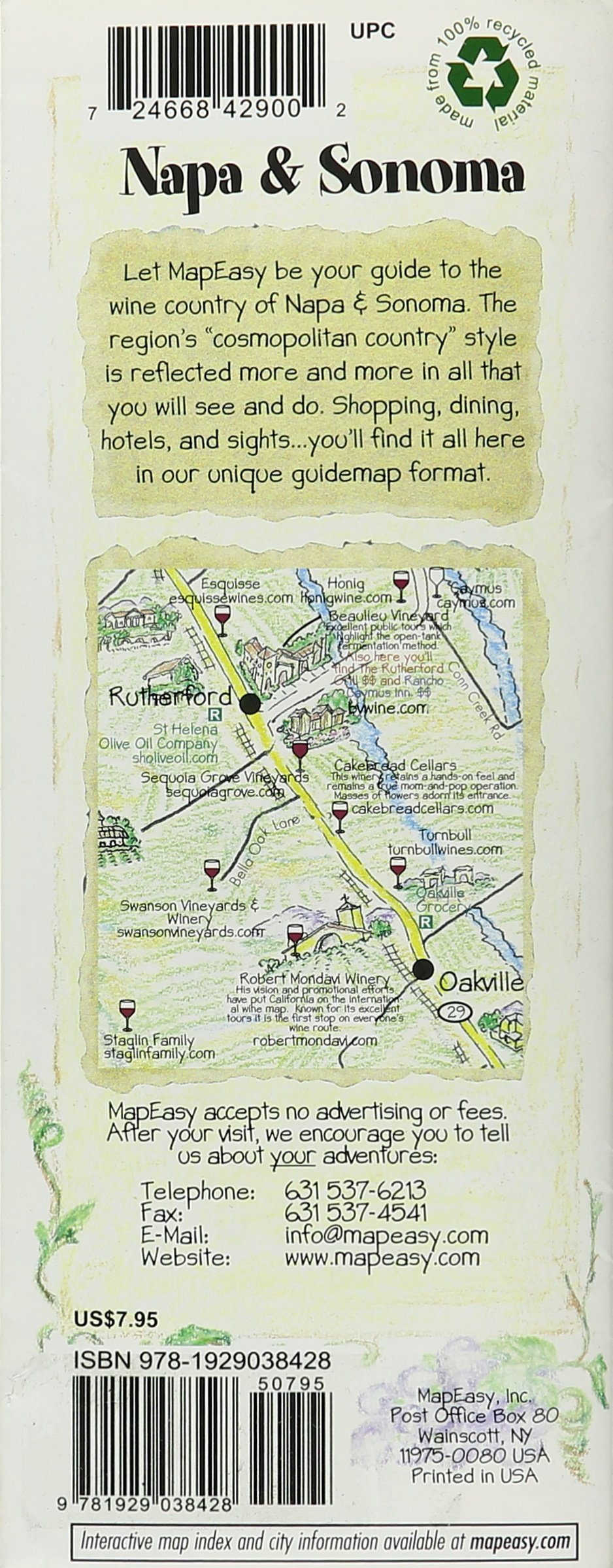 MapEasys Guidemap To NapaSonoma MapEasy Amazon - Map of napa hotels