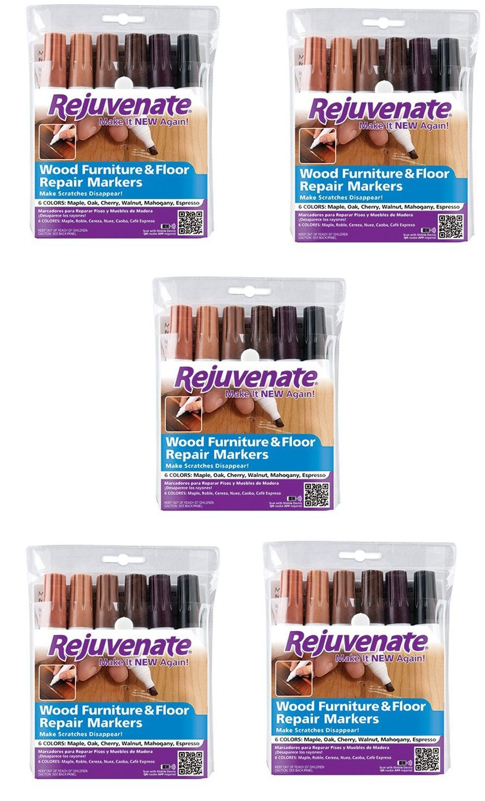 Rejuvenate Wood Furniture & Floor Repair Markers Make Scratches Disappear in Any Color Wood - 6 Colors; Maple, Oak, Cherry, Walnut, Mahogany, Espresso (5 pack) by Rejuvenate