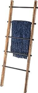 MyGift 5-ft Urban Rustic Wall-Leaning Wood & Metal Blanket Ladder