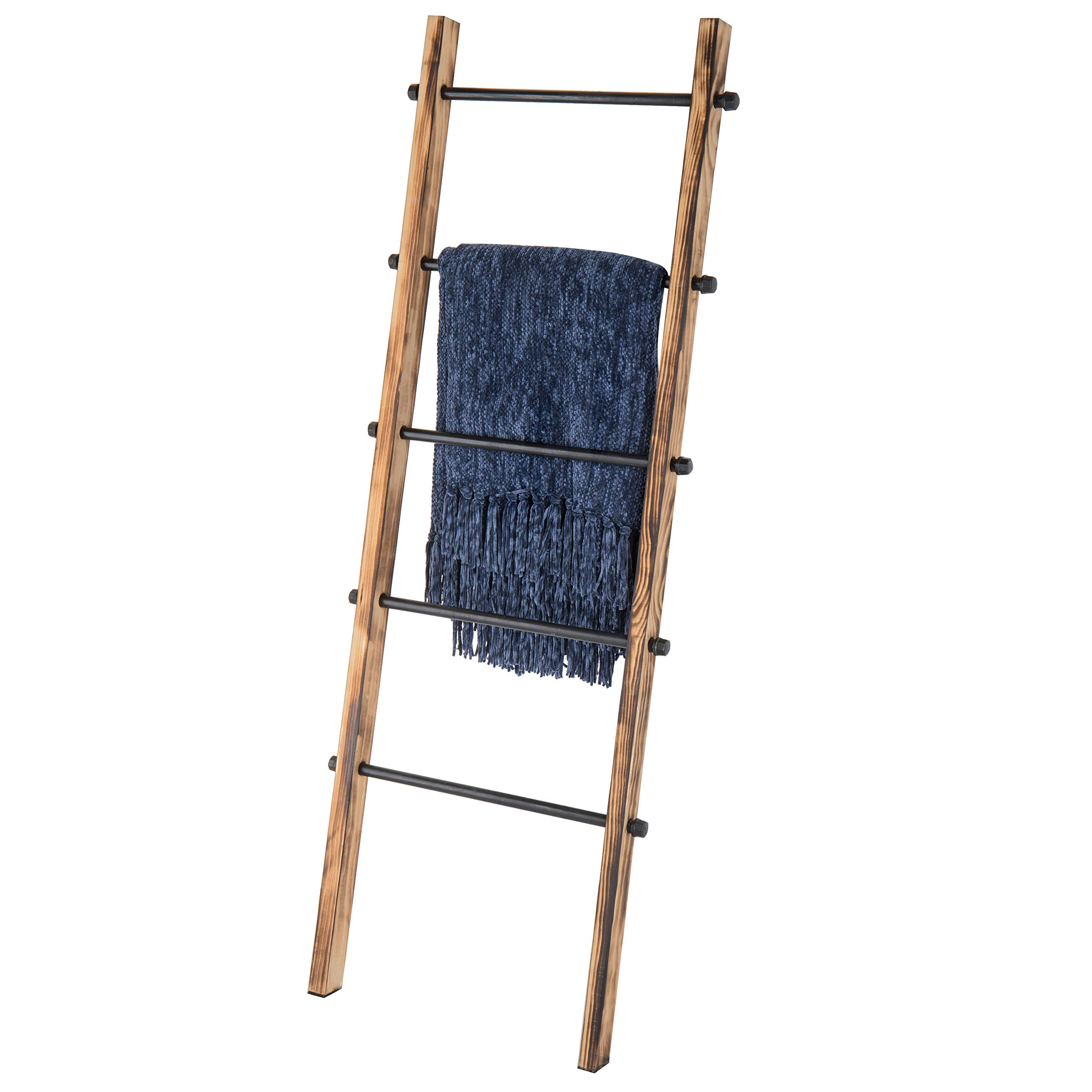 MyGift 5-ft Urban Rustic Wall-Leaning Wood & Metal Blanket Ladder