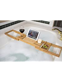 Luxurious Bamboo Bathtub Caddy U2013Adjustable Bath Tub Tray With Candle U0026 Wine  Glass Holders,