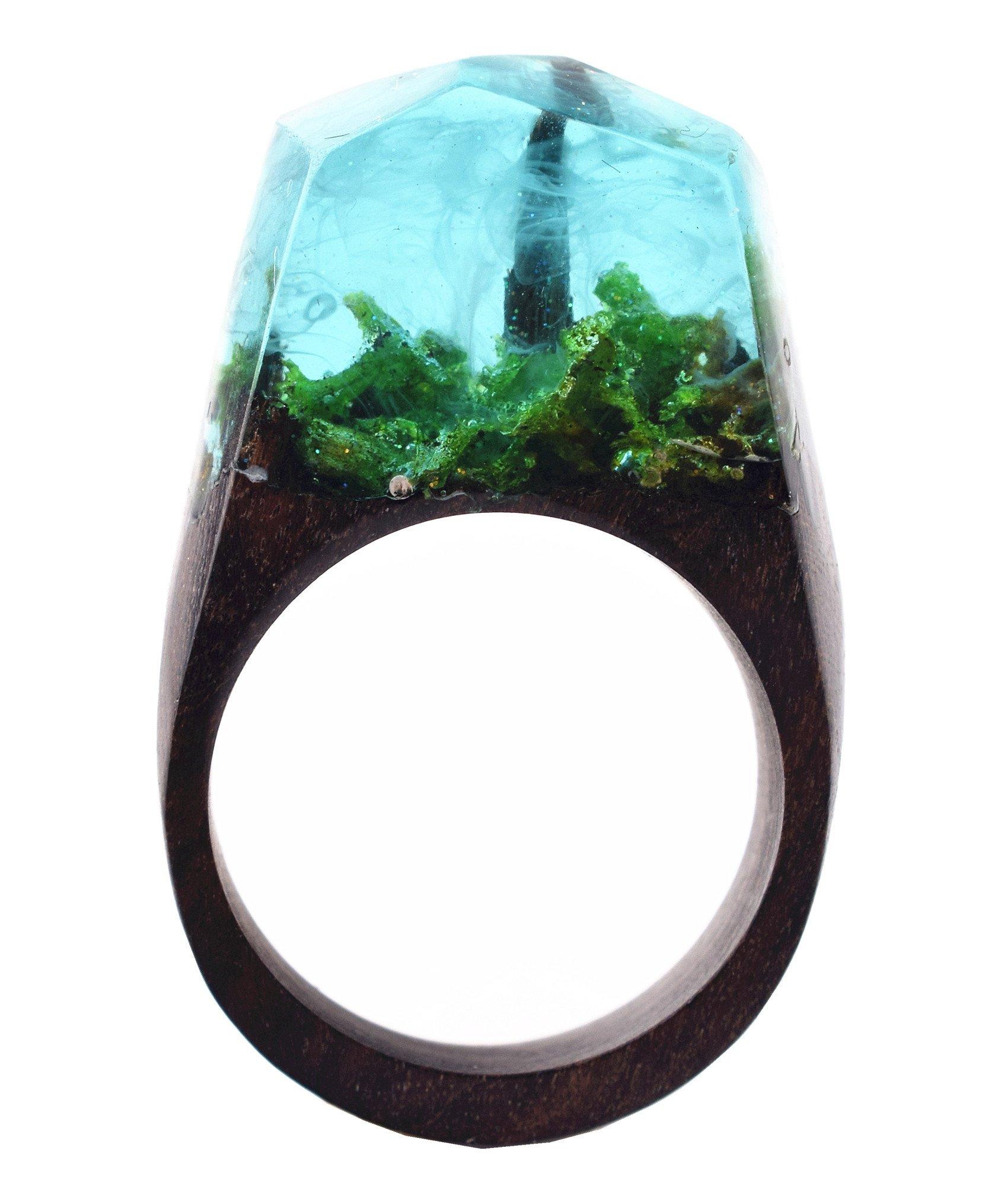 Heyou Love Handmade Wood Resin Rings Secret Forest Landscape Inside Ring Jewelry For Unisex (Style1, 9)