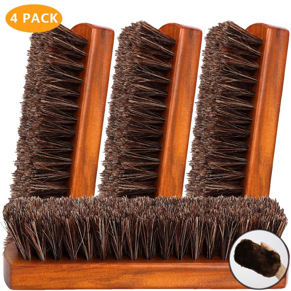 Leideur Shoe Brush, Horsehair Bristles Shoe Brush, Shoe Brush for Polishing Cleaning, Shoe & Leather Care, Shoe Shine Brush, Large Size 4 Pack