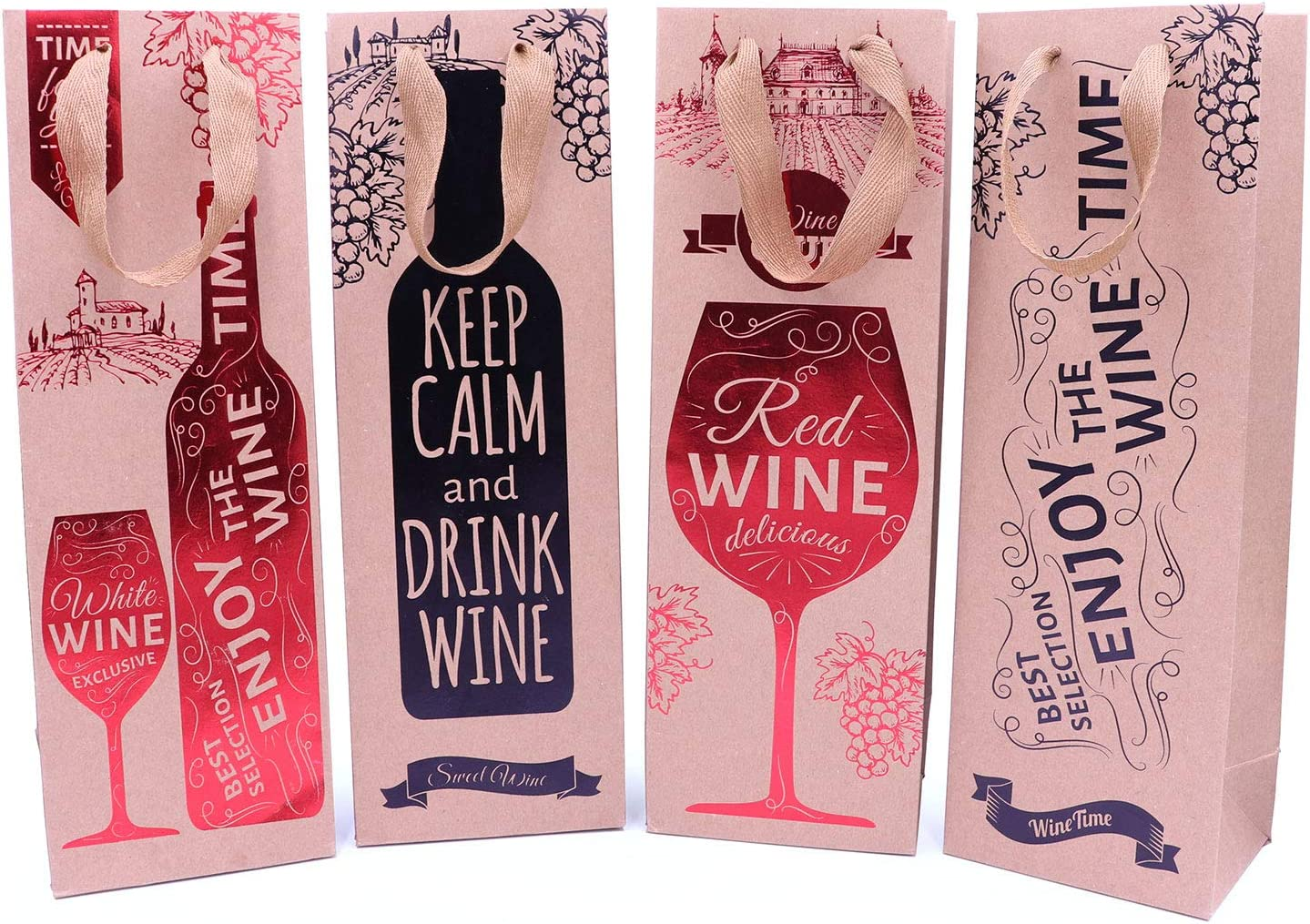 8 bolsas de regalo para botellas de vino con etiqueta de regalo y asas para bodas, aniversarios, cumpleaños, 39 cm de alto x 12 cm de ancho x 9 cm de profundidad