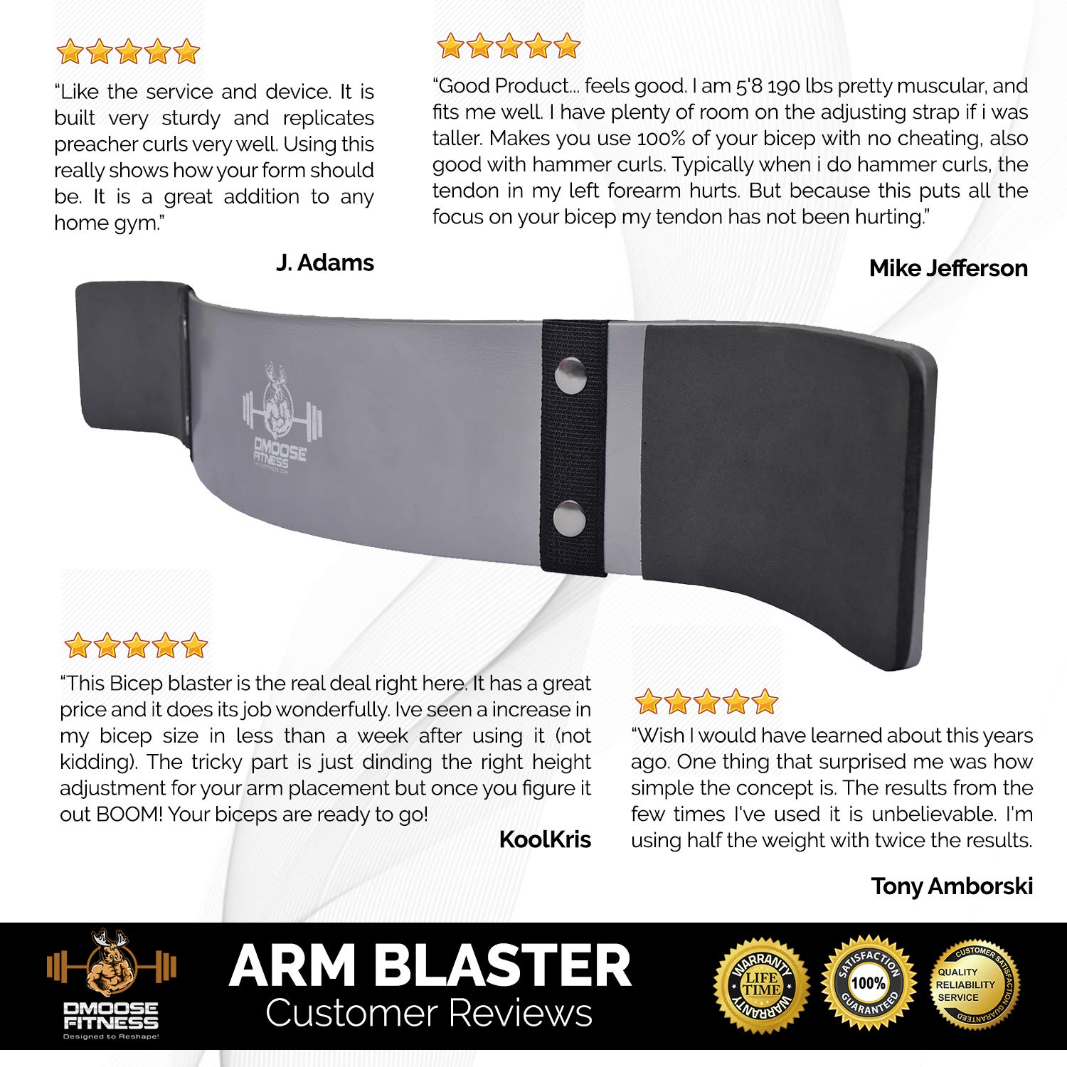 Improve Definition /& Muscle Strength in Your Arms Premium Grade Bodybuilding Bicep Isolator Thick Gauge Aluminum Robust Rivets DMoose Fitness Arm Curl Blaster Contoured /& Adjustable