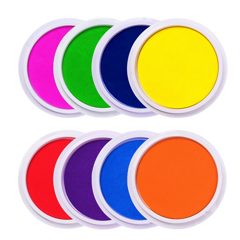 Lsushine Craft Large Ink Pad Stamps Partner DIY Color,8 Colors Rainbow Finger Ink pad for Kids (Pack of 8)